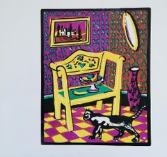 Interior with a Cat - Original Woodcut Print by L. Spacal - 1950 ca.