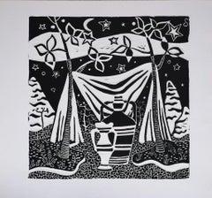 Childwood Memory - Original Woodcut Print by L. Spacal - 1940