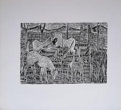 Free Horses - Original Woodcut Print by L. Spacal - 1940