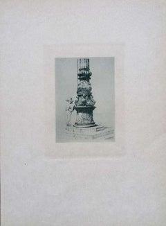 Column in St. Mark's Square - Etching on Cardboard by Luigi Beltrami - 1877
