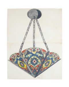 Porcelain Lamp - Original Watercolor and Ink - Late 19th Century