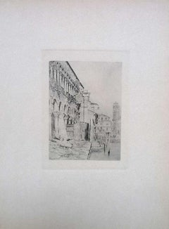 Venice, il Fondaco dei Turchi - Original Etching by L. Beltrami - 1877