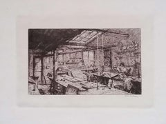 Paris, l'Atelier Pascal - Original Etching on Cardboard by L. Beltrami - 1877