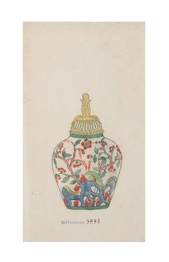 Porcelain Vase - Original China Ink and Watercolor