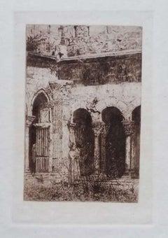 St-Trophime Cloister - Original Etching on Cardboard by L. Beltrami - 1877