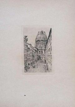 Paris, Rue Mazarine - Original Etching on Cardboard by L. Beltrami - 1877