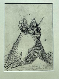 Pic Nic on mountains Top - Pen and Pencil Drawing by G. Galantara - 1908