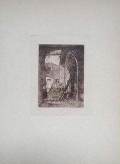 Lombard Farmhouse - Original Etching on Cardboard by Luca Beltrami - 1877