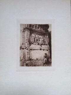 Rome, Arch of Titus - Original Etching on Cardboard by Luca Beltrami - 1878