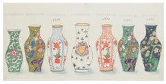 Russian Vases - Original Watercolor and China Ink - 1880s