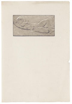 Woman Crouching - Original Pencil Drawing - Early 20th Century