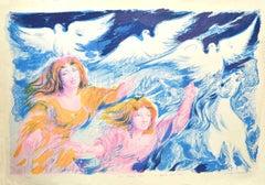 Sirens - Original Lithograph by Aligi Sassu - 1975