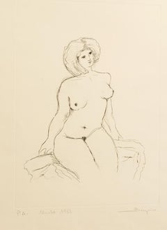 Nude - Original Etching by Andrea Biniglio - 1983