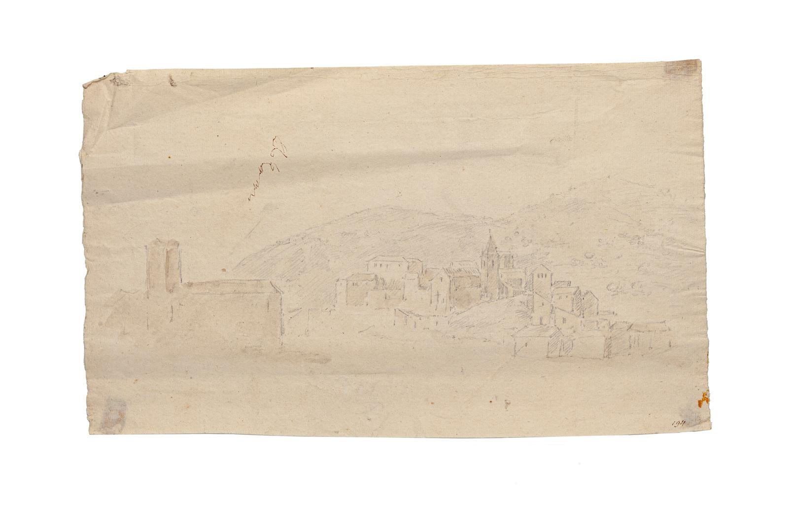 Landscape - Original Pencil and Watercolor by Jan Pieter Verdussen - 1750