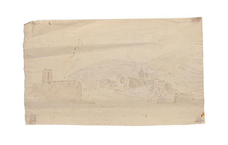 Landscape is a beautiful drawing in watercolor and pencil on ivory-colored paper realized by Jan Peter Verdussen.  In good condition; only a smallspots at the edges of the drawing and folding on the margins.   Illegible Hand-signed on the top left