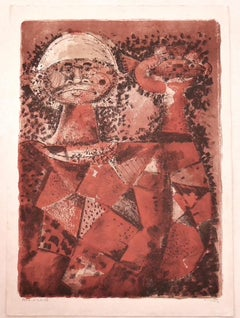 The Fisherman - Original Lithograph by Federico Righi - Mid-20th Century