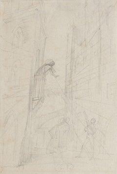 Scenography - Original Pencil Drawing by Eugène Berman - 1950s