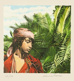 Tunisian Girl - Original Lithograph on Paper by Deanna Frosini - 1990s