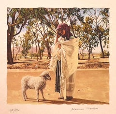 Tunisian Shepherdess - Original Lithograph on Paper by Deanna Frosini - 1990s