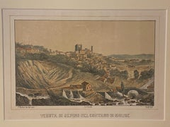 View of Sepino (Molise, Italy) - Lithograph by Girelli and Giuli - 19th Century