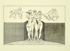 Nude Women - Original Etching by Alfredo Brasioli - Late 20th Century