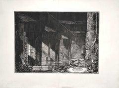 Dimostrazioni dell'Emissario del Lago di Albano - Etching G.B. Piranesi - 1750s