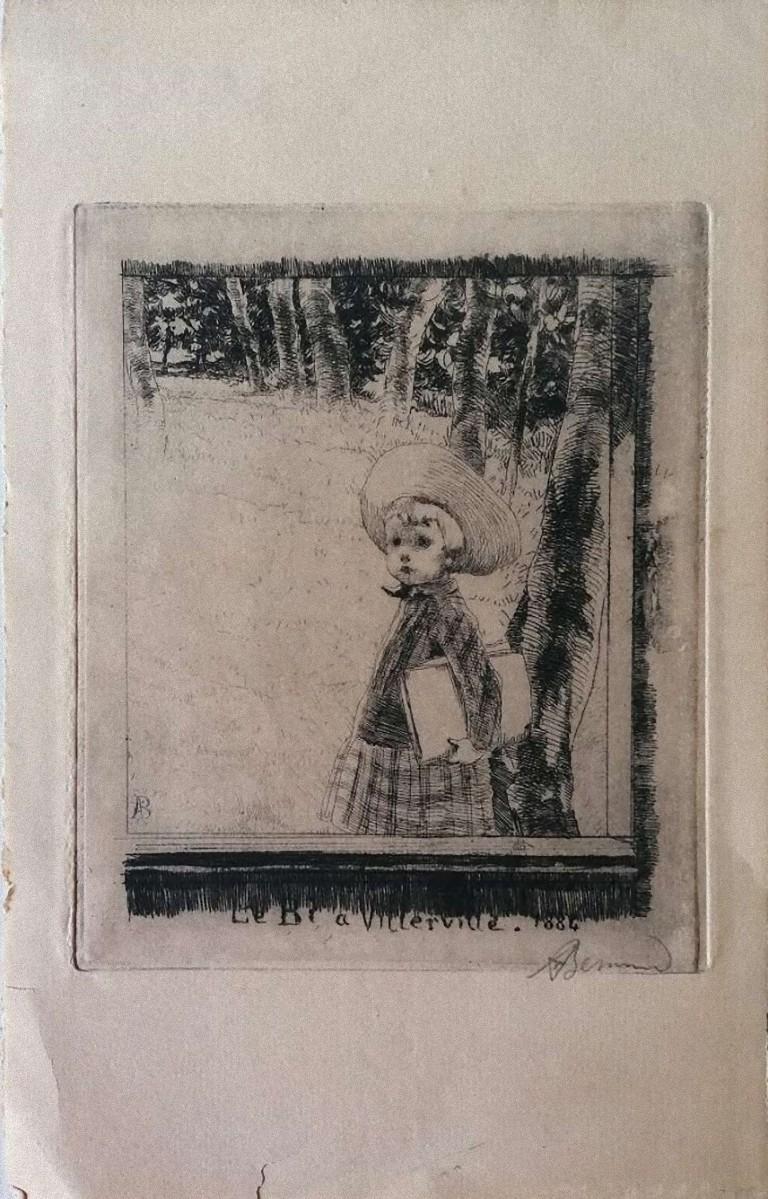 Le Bi à Villerville - Original Etching on Paper by Albert Bernard - 1884 ca.