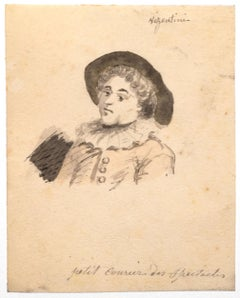 Boy with Mask - Pencil and Watercolor by Antonio Visentini - 18th Century