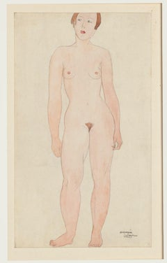 Nude - Original Pencil and Watercolor by Germaine Labaye - Late 20th Century