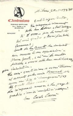 Autograph Letter Signed by Carlo Carrà - 1938