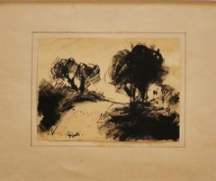 Landscape - Watercolor/China Ink by by Lorenzo Gigotti - Late 20th Century