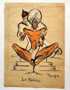 Fakir - Original Mixed Media by Eric Hugon - Late 20th Century