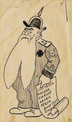 Wisdom - Original Pen Drawing by Filiberto Scarpelli - 1920 ca