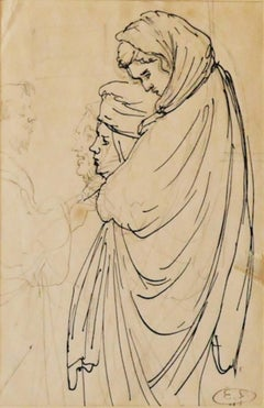 Women - Original Pen and Pencil by Eugène Berman - 1950s