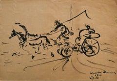 Corsa - Original China Ink by Antonio Vangelli - 1943
