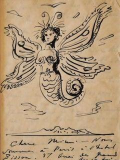 Mermaid - Original China Ink by Eugène Berman - 1950s