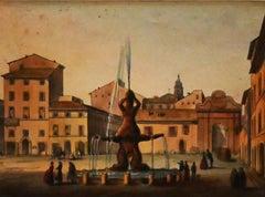 Barberini Square, Roma - Original Watercolor - 19th Century