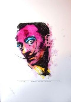 Portrait of S. Dalì - Original Mixed Media by Sergio Barletta - 1994