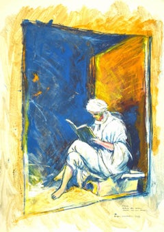 Reading - Original Mixed Media by Sergio Barletta - 1995