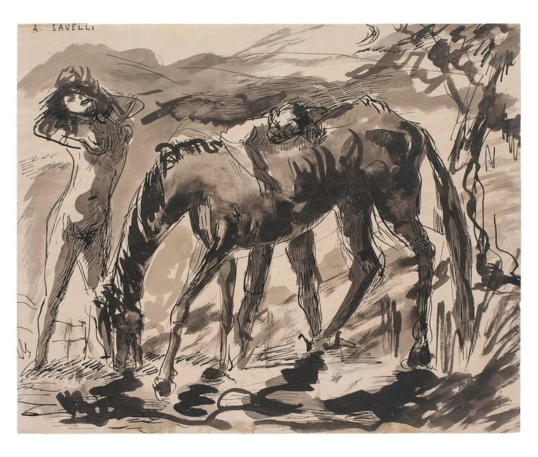 Woman and Horse is an original Contemporary artwork realized in the 1960s by the Italian artist Angelo Savelli (Pizzo, 1911 - Dello, 1995).  Original ink and watercolor on Ivory Paper.   Hand-signed on the upper left corner: A.Savelli. Image