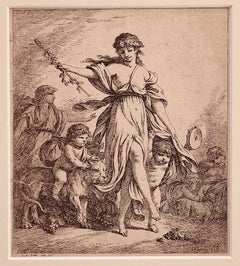 Goddess with Children - Original Etching by J.B. Huet - 18th Century