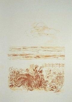 The Sea - Original Lithograph by Sandro Sanna - 1969