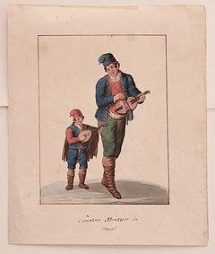 Musicians from Abruzzo - Original Watercolor by Michela De Vito - 19th Century