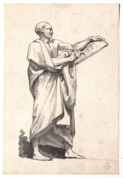 The Scribe - Original Ink and Watercolor on Paper - 19th Century