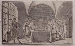 Interior Meeting - Original Etching by Cornelis Meyssens - 17th Century