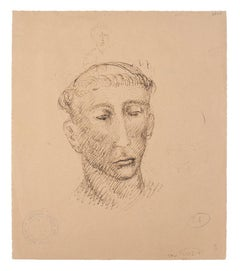 Head of Man - Original Pen and Pencil on Paper by Marcello Ciampolini - 1946
