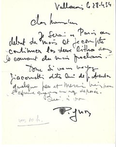 Autographs by Édouard Pignon to Nesto Jacometti - 1954