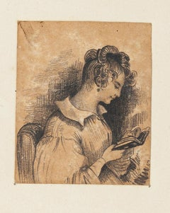 Portrait of Woman - China Pencil on Paper by A.-F. Cals - Late 19th Century