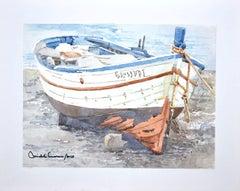 Boat - Original Watercolor on Cardboard by Michele Cascarano - 2018
