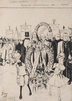 The Catholic Glories - Original China Ink by Bruno Angoletta - 1907